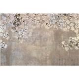 Vliesové fototapety betónová stena s listami rozmer 375 cm x 250 cm
