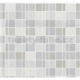 Vliesové tapety na stenu Easy Wall obklad kachličky sivé, hnedé, béžové