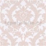 Vliesové tapety na stenu IMPOL Effecto zámocký vzor ružový s trblietkami na bielom podklade