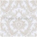 Vliesové tapety na stenu IMPOL Effecto zámocký vzor hnedo-biely s trblietkami