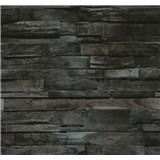 Vliesové tapety na stenu Einfach Schoner drevo hnedo-čierne