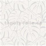 Vliesové tapety na stenu Ella veľké listy bielo-strieborné