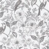 Vliesové tapety na stenu IMPOL perokresba kvety s vtákmi