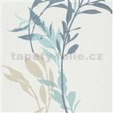 Vliesové tapety na stenu IMPOL Wall We Love kvety modro-béžové na bielom podklade
