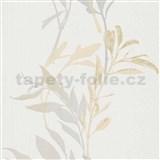 Vliesové tapety na stenu IMPOL Wall We Love kvety béžovo-sivé na bielom podklade