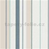 Vliesové tapety na stenu IMPOL Wall We Love pruhy štruktúrované modro-béžovo-biele