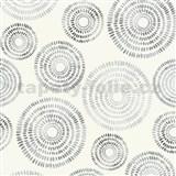 Vliesové tapety na stenu Graphics & Basics kruhy strieborno-čierné na bielom podklade