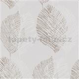 Vliesové tapety na stenu Scandinja listy hnedé na sivom podklade