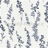 Vliesové tapety na stenu Natural Living florálny vzor tmavo modrý s leskom