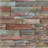 Papierové tapety na stenu Imitations drevený obklad červeno-modrý