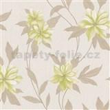 Vinylové tapety na stenu Spring kvety zelené s hnedými stonky a lístkami