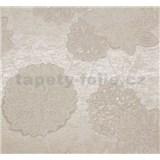 Vliesové tapety Estelle kvety biele na svetlo hnedom podklade