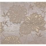 Vliesové tapety Estelle kvety hnedé na zlato-hnedom podklade