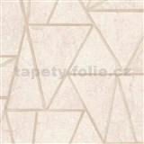 Vliesové tapety na stenu Exposure vápencové obklady béžové so zlatými švami