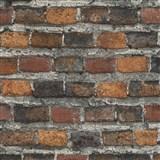 Vliesové tapety na stenu IMPOL Factory 4 tehly oranžovo hnedo-bordové
