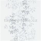 Vliesové tapety na stenu G.M.K. Fashion for walls popínavé lístky sivé na bielom podklade