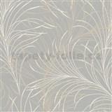 Vliesové tapety na stenu Felicita jemné listy hnedo-krémové na sivom podklade