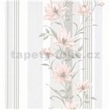 Vliesové tapety na stenu IMPOL Finesse kvety ružové so sivými pruhmi