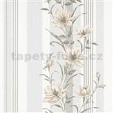 Vliesové tapety na stenu IMPOL Finesse kvety hnedé so sivými pruhmi