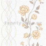 Vliesové tapety na stenu IMPOL Finesse kvety béžové na bielom podklade