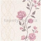 Vliesové tapety na stenu IMPOL Finesse kvety ružové na béžovom podklade