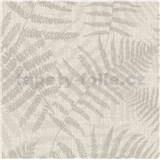 Luxusná vliesová tapeta na stenu NATURAL FOREST listy papradia svetlo hnedé s trblietkami