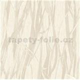 Luxusná vliesová tapeta na stenu NATURAL FOREST trstina krémová s trblietkami