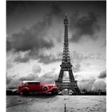 Vliesové fototapety retro auto v Paríži rozmer 225 cm x 250 cm