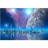 Vliesové fototapety futuristické mesto rozmer 375 cm x 250 cm