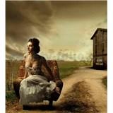 Vliesové fototapety Dievča v kresle rozmer 225 cm x 250 cm