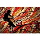 Vliesové fototapety bicycle red rozmer 375 cm x 250 cm