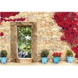 Vliesové fototapety kamenná stena s oknom, rozmer 416 cm x 254 cm