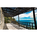 Vliesové fototapety stredomorská terasa s výhľadom na more rozmer 368 cm x 254 cm