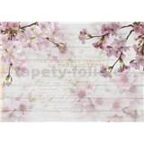 Vliesové fototapety kvety sakury na dreve rozmer 368 cm x 254 cm