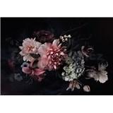 Vliesové fototapety kvetinová koláž na čiernom podklade rozmer 368 x 254 cm