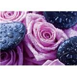 Vliesové fototapety ruže a lava kamene, rozmer 312 x 219 cm