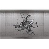 Vliesové fototapety 3D sivý abstrakt na betónovom podklade, rozmer 312 cm x 219 cm