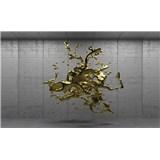 Vliesové fototapety 3D zlatý abstrakt na betónovom podklade rozmer 104 cm x 70,5 cm