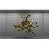 Fototapety 3D zlatý abstrakt na betónovom podklade, rozmer 254 cm x 184 cm