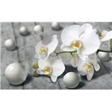 Vliesové fototapety orchidea s perlami, rozmer 416 cm x 254 cm
