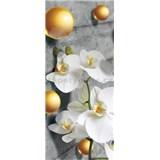 Vliesové fototapety orchidea a 3D guličky rozmer 91 cm x 211 cm