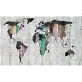 Vliesové fototapety 3D mapa sveta, rozmer 416 cm x 254 cm