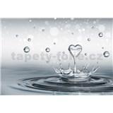 Vliesové fototapety srdce a kvapkami vody, rozmer 416 cm x 254 cm