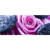 Vliesové fototapety ruže a láva kameňmi