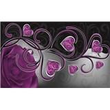 Vliesové fototapety fialová ruže so srdiečkami, rozmer 416 cm x 254 cm
