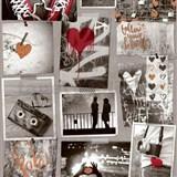 Papierové tapety na stenu Freestyle Love srdiečka medené a červené