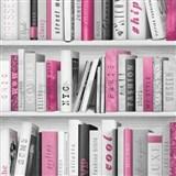 Papierové tapety na stenu Freestyle knižnica ružová