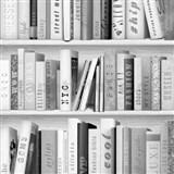 Papierové tapety na stenu Freestyle knižnica čierno-sivá