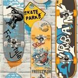 Papierové tapety na stenu Freestyle skateboardy farebné