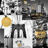 Papierové tapety na stenu Freestyle New York City so zlatými ligotkami